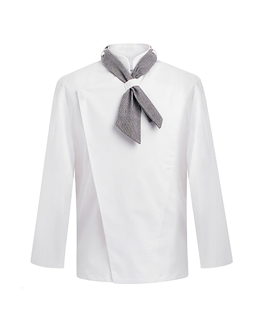 [SET] scarf slim chef jacket white - hidden button  #AJ1459