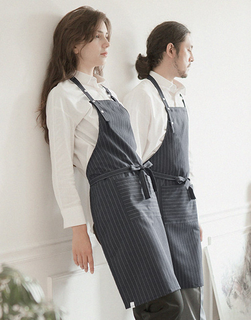modern pin striped apron grey  #AA1702