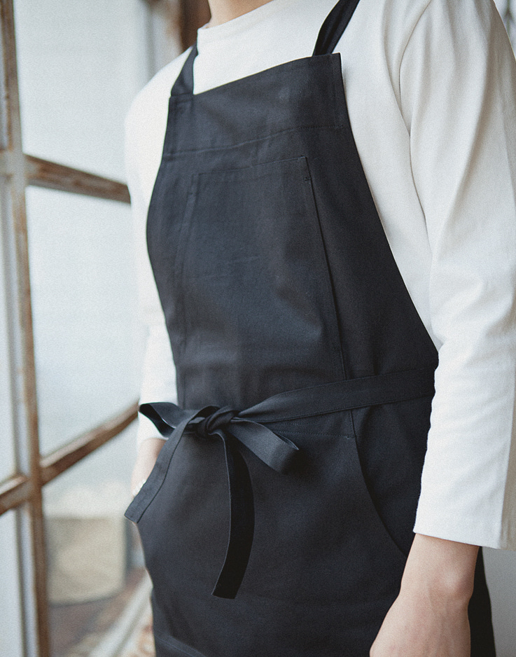 HAKATA cotton apron black #AA1762