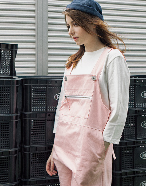 overall zipper poin apron pink #AA1803