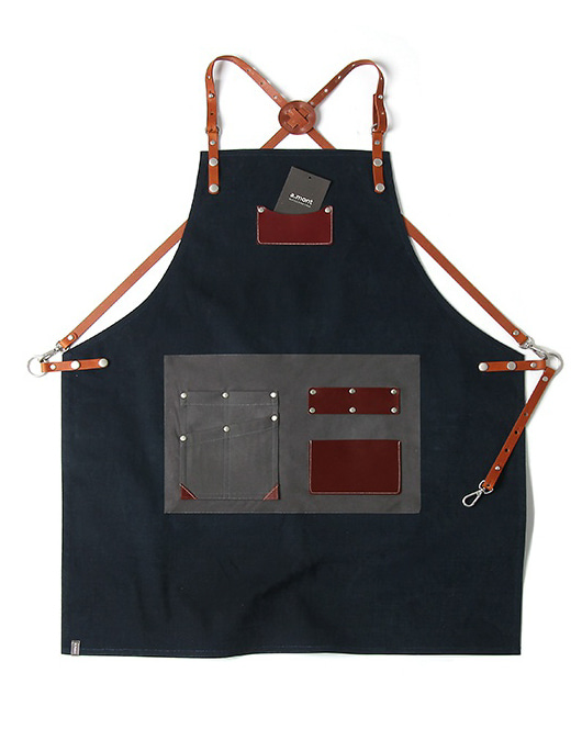 customizing canvas leather apron navy #AA1807