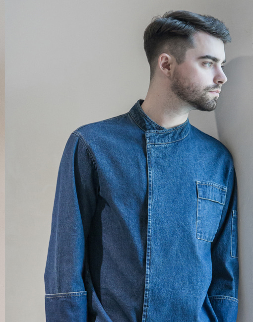 MAGNETIC hidden denim chef coat #AJ1845