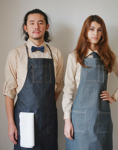 #AA1404 Basic Denim Apron Dark blue