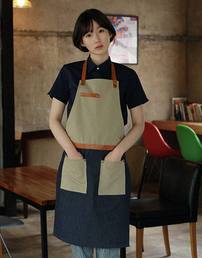 #AA1514 Denim canvas leather Apron