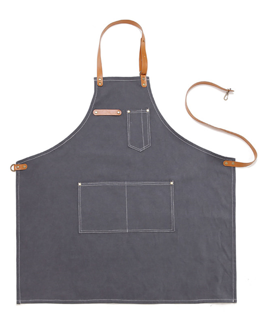 #AA1515 Vintage canvas leather Apron Grey
