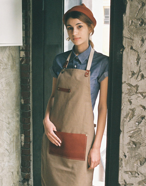 #AA1524 Leaf real cow leather Apron Beige