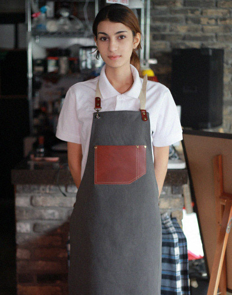 #AA1531 Vintage real cow leather Apron Grey