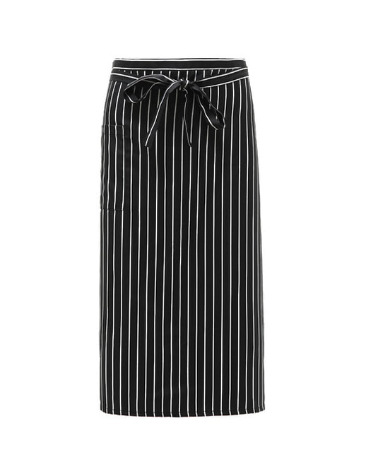 #AA1574 Long Stripe Apron Black