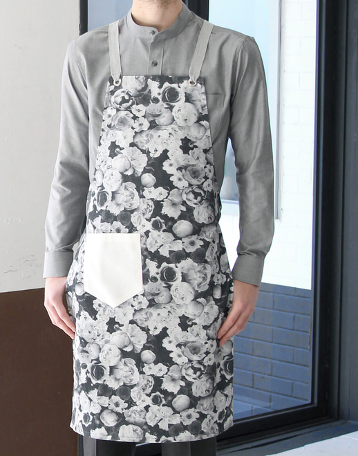 Floral Chest Apron Grey #AA1609
