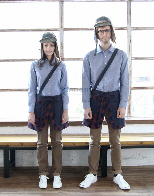 Suspenders Apron Denim Check #AA1607