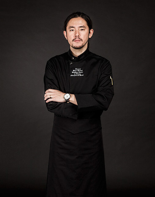 the covering chef coat black #AJ1641