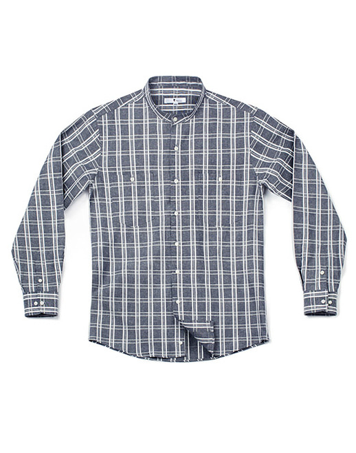 linen check shirt deep grey - men #AS1700