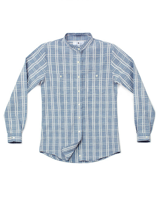 linen check shirt sky blue - women #AS1700