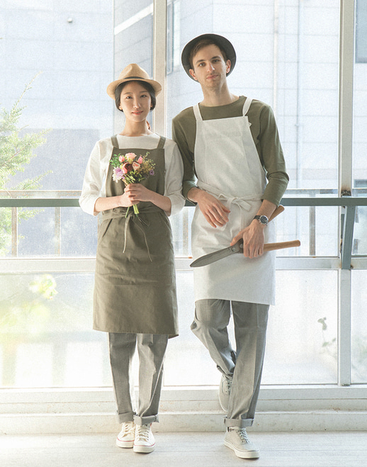 HAKATA cotton apron white #AA1760