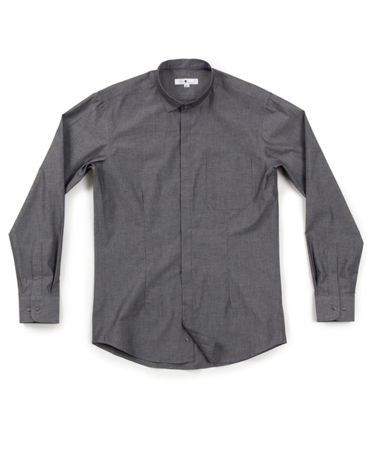 unbalance chambray shirts - dark grey #AS1743