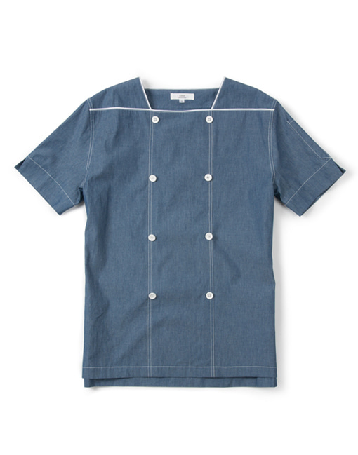 denim square neck chef 1/2 shirts #AJ1799