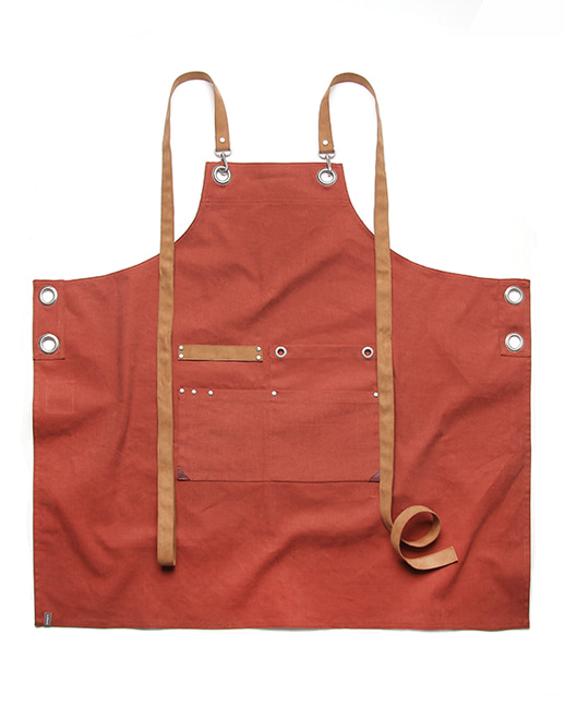 #AA1823 shoelace canvas chest apron orange