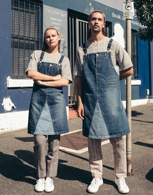 Suspenders pants denim washing apron #AA1852