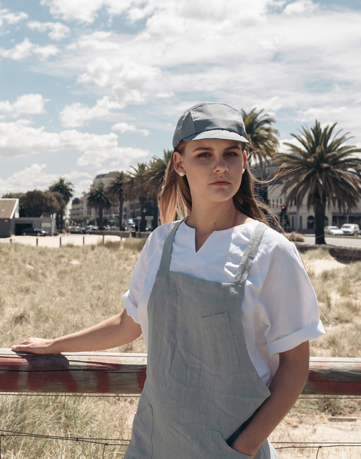 Linen slit V neck chef shirts #AT1886