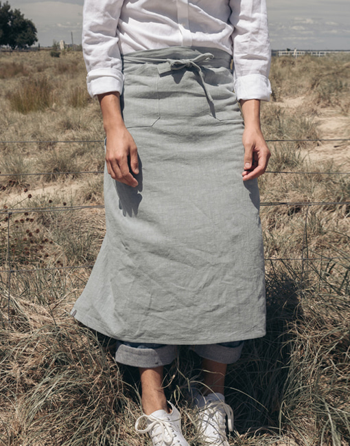 Linen Pocket Waist Apron #AA1892 mint