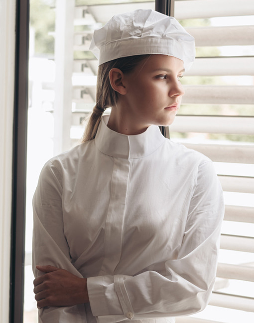 High Neck Women Chef Coat #AJ1883