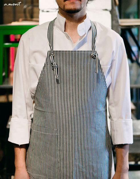 Natural Stripe Canvas Aprons White #AA1307