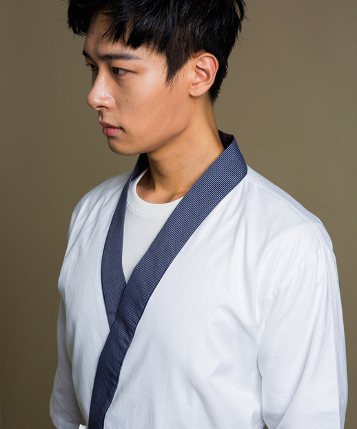 #AJ1876 Tan Stripe Collar Sushi Chef Coat