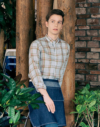 Farm linen check shirts - sky blue #AS1814