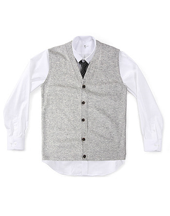 lambswool knit vest light-grey #AV1752