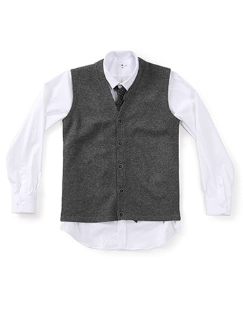 lambswool knit vest dark-grey #AV1752