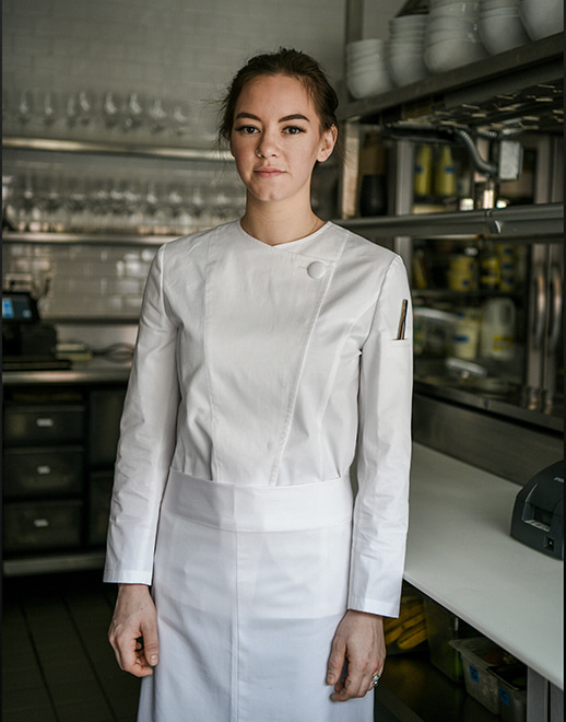 doep round neck stretch women chef coat #AJ1953